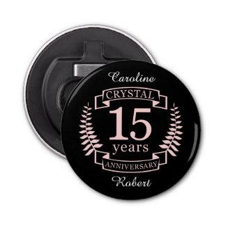 Aniversario de boda cristalino 15 años abrebotellas redondo