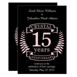 Aniversario de boda cristalino 15 años invitación 12,7 x 17,8 cm