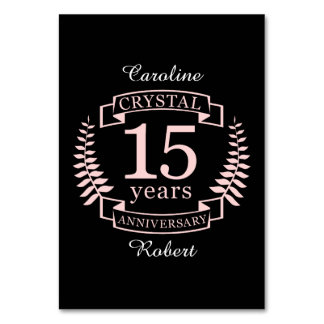 Aniversario de boda cristalino 15 años tarjeta