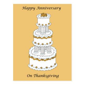 Aniversario de boda de la acción de gracias postal