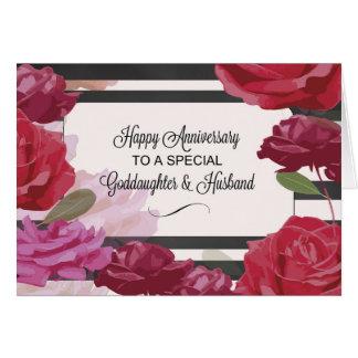 Aniversario de boda de la ahijada y del marido tarjeta de felicitación