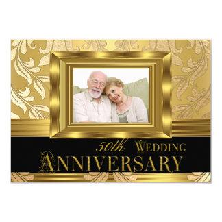 Aniversario de boda de la foto 50.a del damasco invitación 12,7 x 17,8 cm