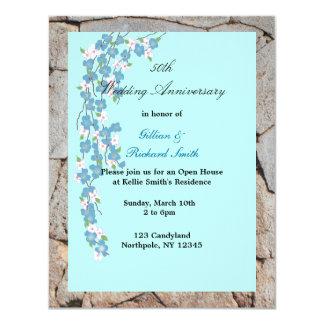 Aniversario de boda de los flores 50.os invitación 10,8 x 13,9 cm