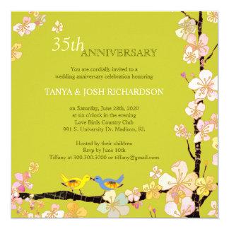 Aniversario de boda de los pájaros del amor de la invitación 13,3 cm x 13,3cm