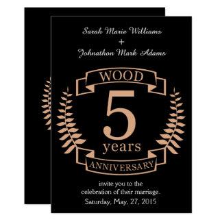 Aniversario de boda de madera 5 años invitación 12,7 x 17,8 cm