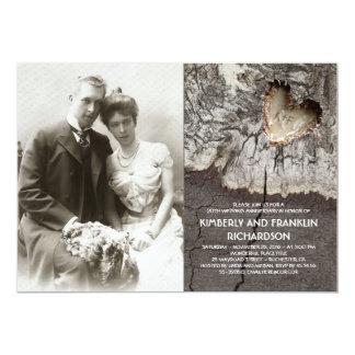Aniversario de boda de madera rústico de la foto invitación 12,7 x 17,8 cm
