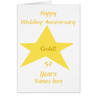 Aniversario de boda de oro 50 años de frente de tarjeta de felicitación