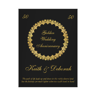 Aniversario de boda de oro adaptable impresión en lienzo