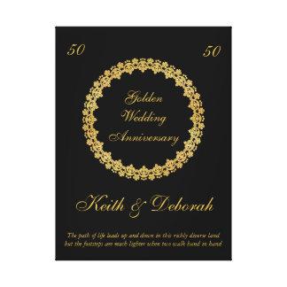 Aniversario de boda de oro adaptable lienzo
