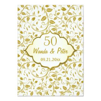 Aniversario de boda de oro de las hojas 50.as invitación 11,4 x 15,8 cm