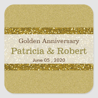 Aniversario de boda de oro del brillo 50.o del oro pegatina cuadrada