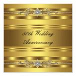 Aniversario de boda de oro del oro elegante 50.o invitaciones personalizada