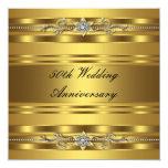 Aniversario de boda de oro del oro elegante 50.o invitación 13,3 cm x 13,3cm