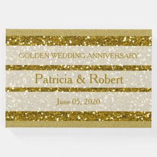 Aniversario de boda de oro del purpurina del oro libro de visitas