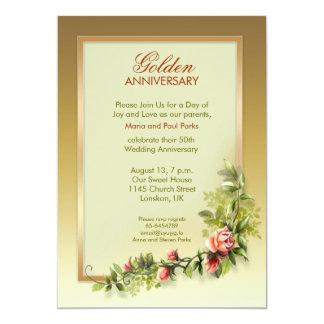 aniversario de boda de oro elegante - 50 invitación 12,7 x 17,8 cm