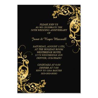 Aniversario de boda de oro elegante del remolino invitación 12,7 x 17,8 cm