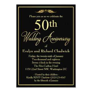 Aniversario de boda de oro elegante invitación 12,7 x 17,8 cm