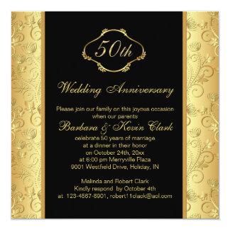 Aniversario de boda de oro floral del negro 50.o invitación 13,3 cm x 13,3cm