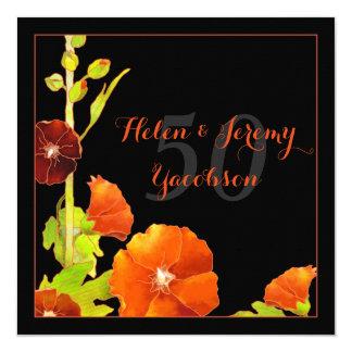 Aniversario de boda de oro floral rojo negro de n invitación 13,3 cm x 13,3cm