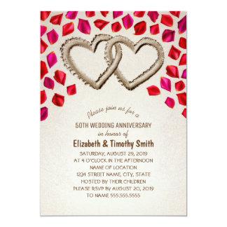 Aniversario de boda de playa del pétalo color de invitación 12,7 x 17,8 cm