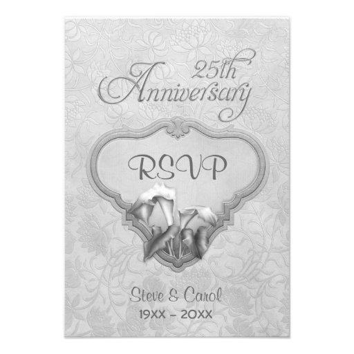 Aniversario de boda de RSVP de la cala de plata 25 Invitación