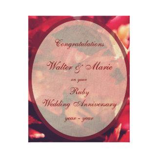 Aniversario de boda de rubíes adaptable impresión en lienzo