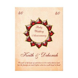 Aniversario de boda de rubíes adaptable lienzo