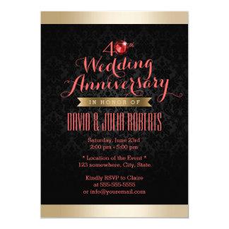 Aniversario de boda de rubíes del damasco del invitación 12,7 x 17,8 cm