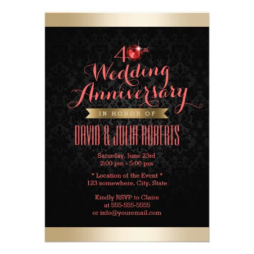 Aniversario de boda de rubíes del damasco del negr invitaciones personalizada