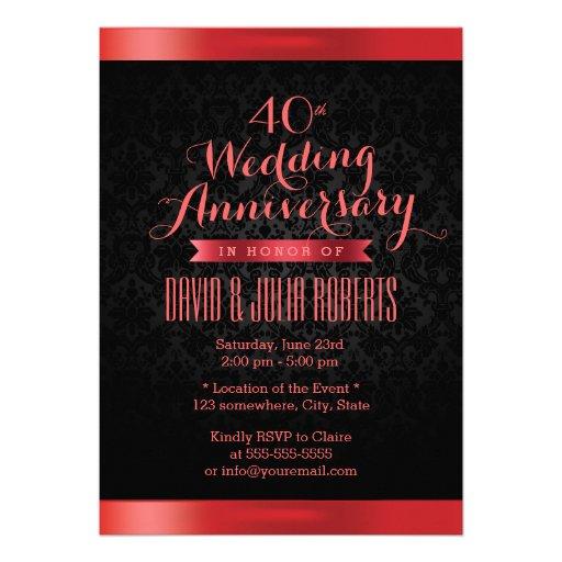 Aniversario de boda de rubíes del damasco negro co comunicado personal
