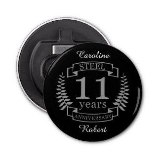 Aniversario de boda del acero undécimo 11 años abrebotellas redondo