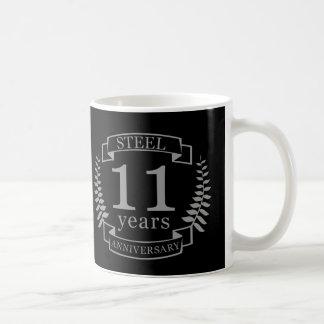 Aniversario de boda del acero undécimo 11 años taza de café