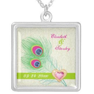 Aniversario de boda del corazón de la joya de la p collar