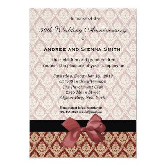 Aniversario de boda del damasco 50.o invitación 12,7 x 17,8 cm
