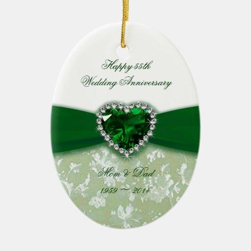 Aniversario de boda del damasco 55.o ornamentos de reyes