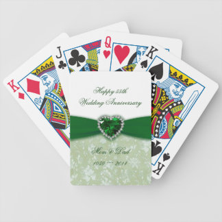 Aniversario de boda del damasco 55.o baraja de cartas bicycle