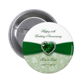 Aniversario de boda del damasco 55.o chapa redonda de 5 cm