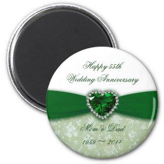 Aniversario de boda del damasco 55.o imán redondo 5 cm