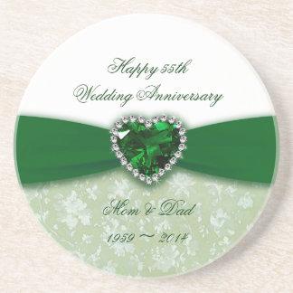 Aniversario de boda del damasco 55.o portavasos