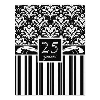 Aniversario de boda del damasco del art déco el 25 invitacion personal