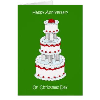 Aniversario de boda del día de navidad, el 25 de tarjeta de felicitación