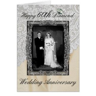 Aniversario de boda del diamante 60.o elegante tarjeta de felicitación