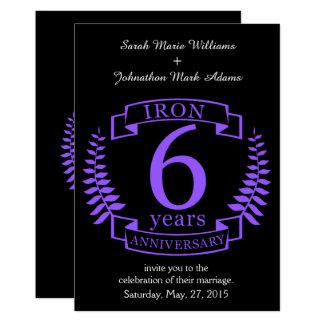 Aniversario de boda del hierro 6 años invitación 12,7 x 17,8 cm