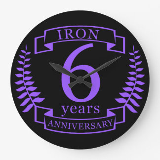 Aniversario de boda del hierro 6 años reloj redondo grande