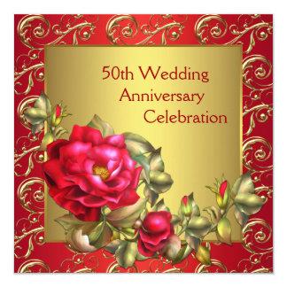 Aniversario de boda del oro 50.o de los rosas invitación 13,3 cm x 13,3cm