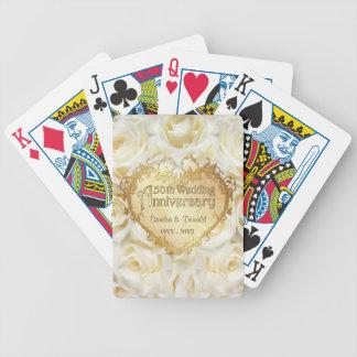 Aniversario de boda del rosa blanco 50.o baraja de cartas bicycle