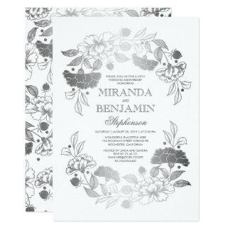Aniversario de boda elegante de la guirnalda invitación 12,7 x 17,8 cm