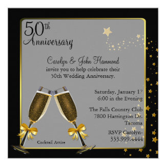 Aniversario de boda elegante del negro y del oro 5 invitación