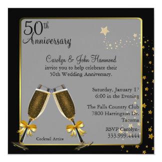 Aniversario de boda elegante del negro y del oro invitación 13,3 cm x 13,3cm