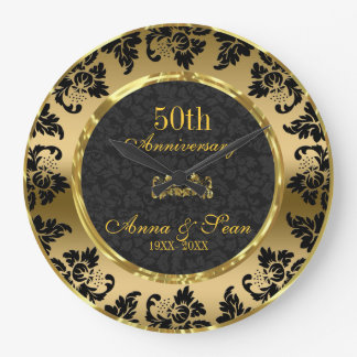 Aniversario de boda elegante del negro y del oro reloj redondo grande